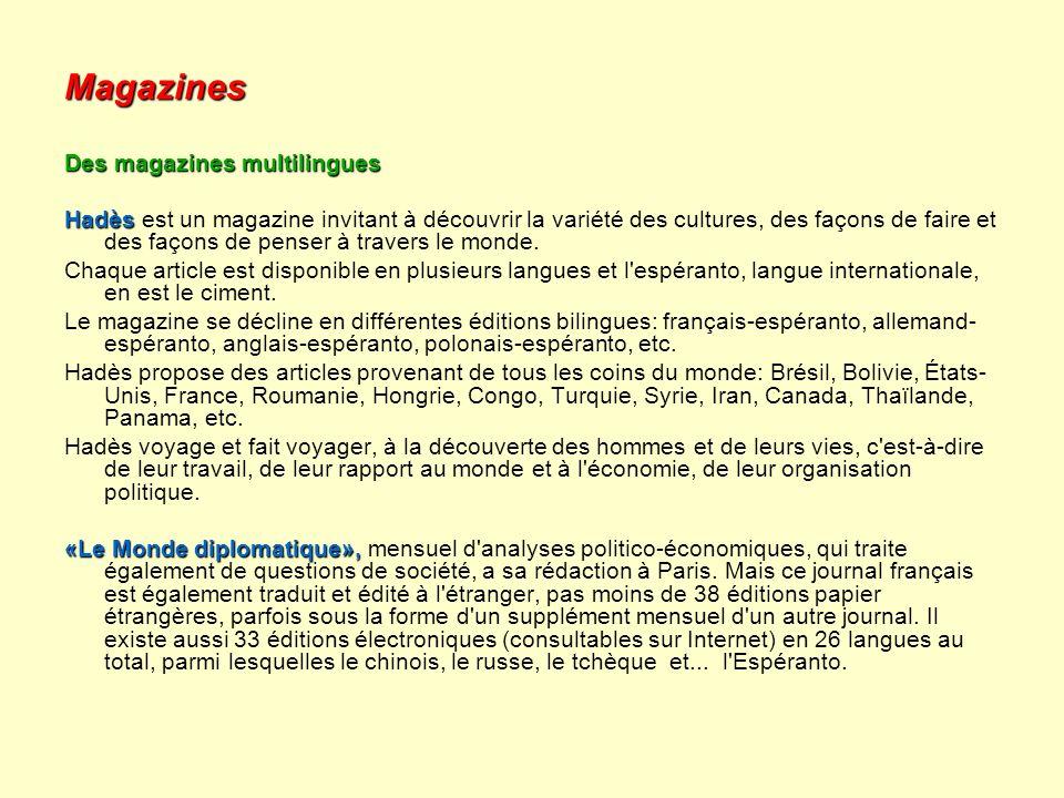 Magazines Des magazines multilingues