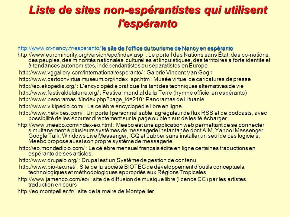 Liste de sites non-espérantistes qui utilisent l espéranto
