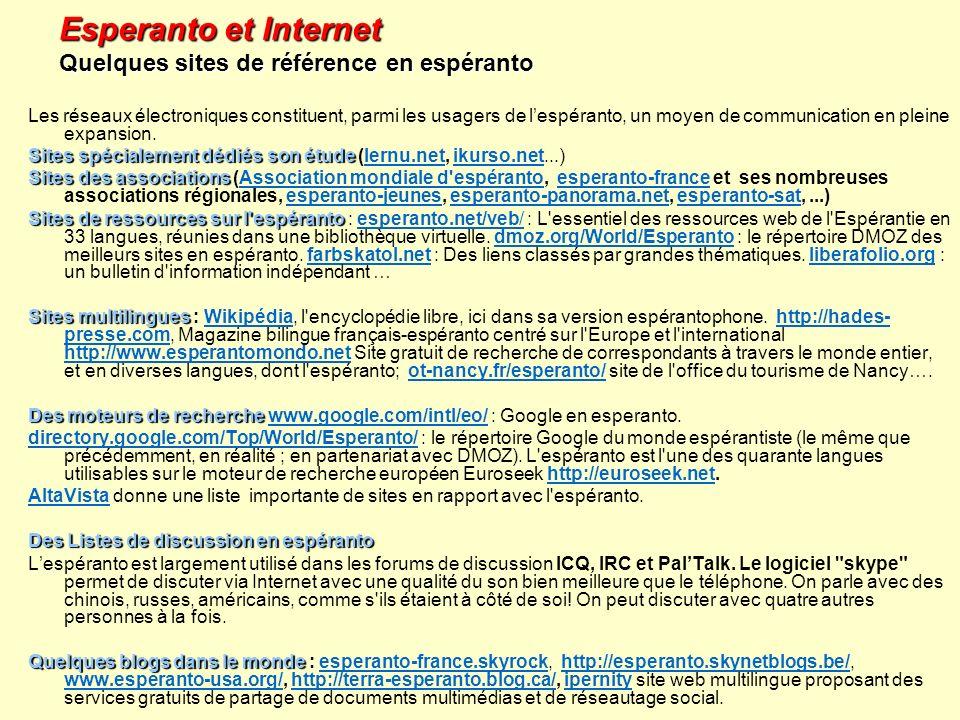 Esperanto et Internet Quelques sites de référence en espéranto