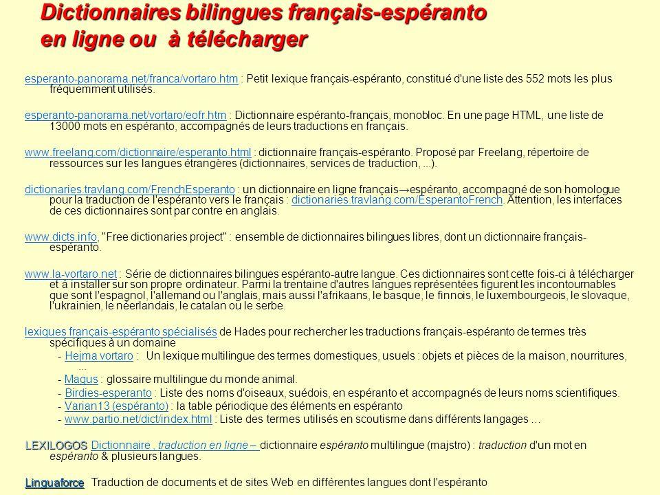 Dictionnaires bilingues français-espéranto en ligne ou à télécharger