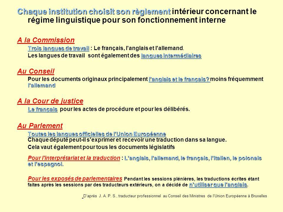 Chaque institution choisit son règlement intérieur concernant le régime linguistique pour son fonctionnement interne