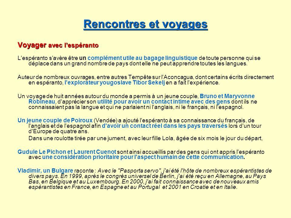 Rencontres et voyages Voyager avec l espéranto
