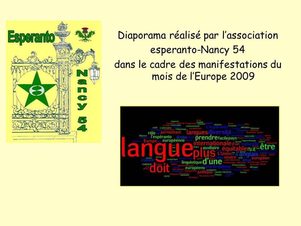 Diaporama réalisé par l'association esperanto-Nancy 54