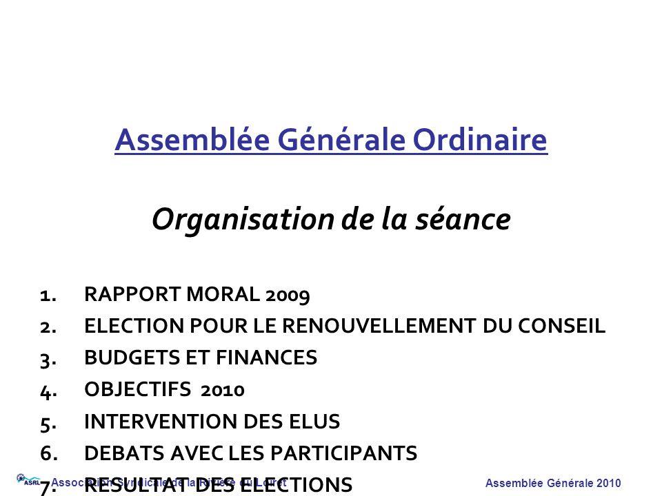 Assemblée Générale Ordinaire Organisation de la séance