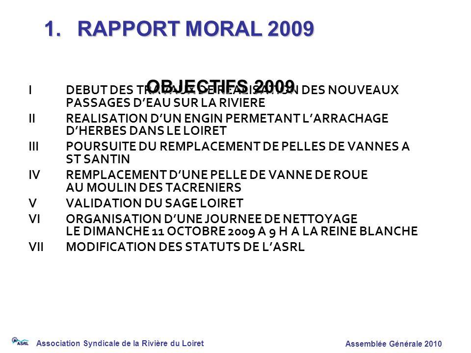 1. RAPPORT MORAL 2009 OBJECTIFS 2009