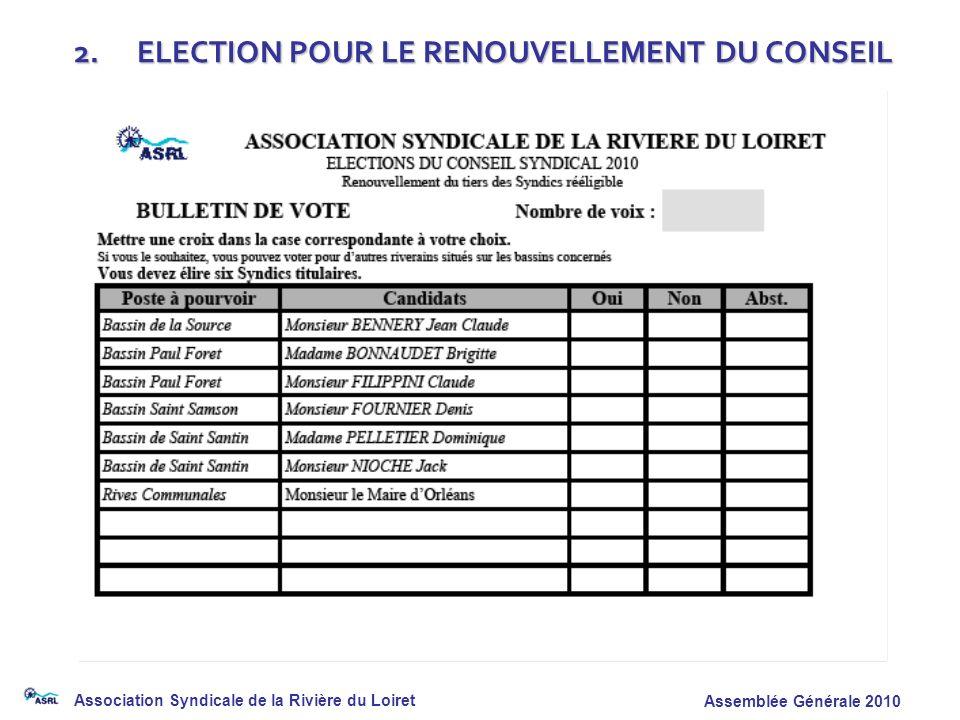 2. ELECTION POUR LE RENOUVELLEMENT DU CONSEIL