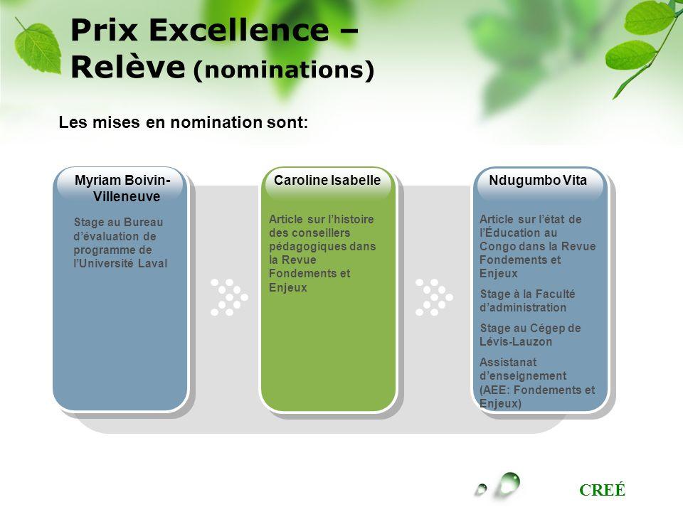 Prix Excellence – Relève (nominations)