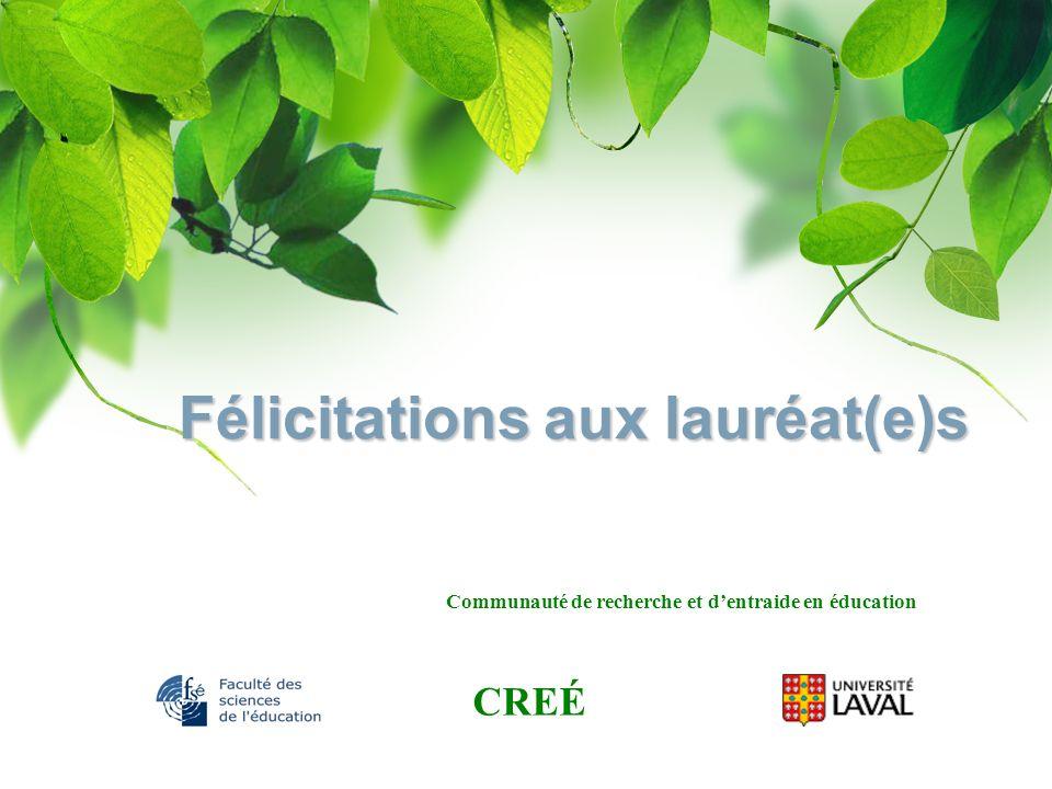 Félicitations aux lauréat(e)s