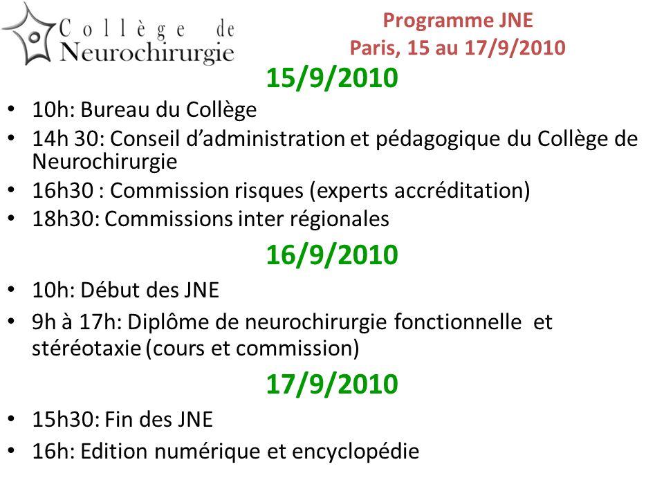 Programme JNE Paris, 15 au 17/9/2010