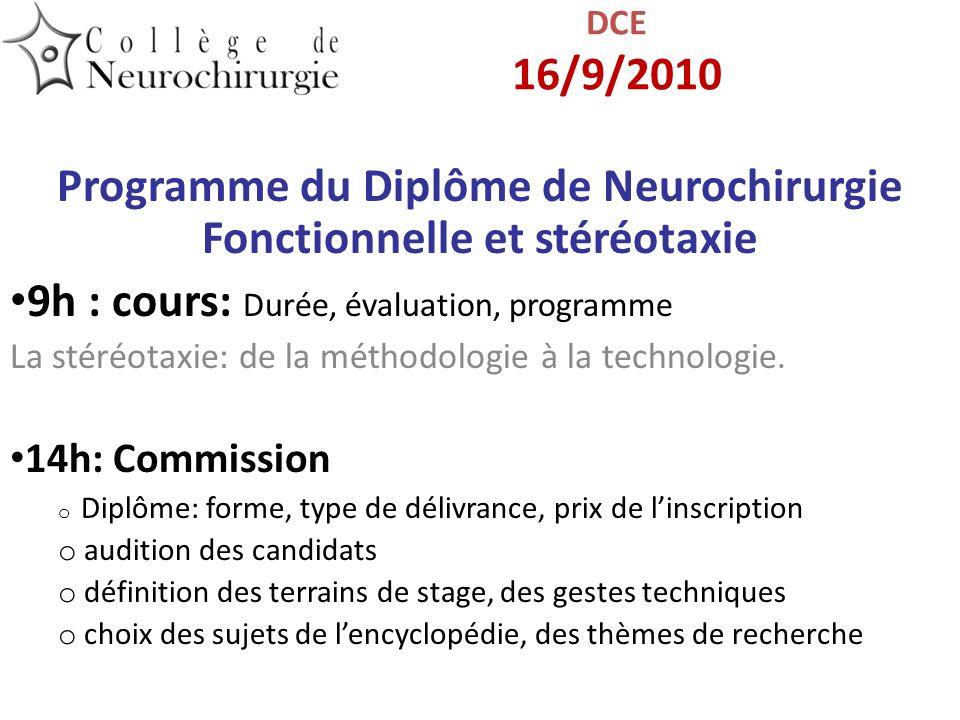 Programme du Diplôme de Neurochirurgie Fonctionnelle et stéréotaxie