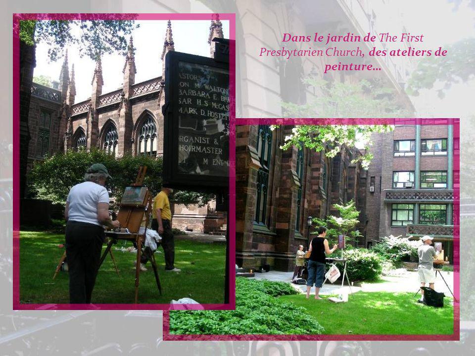 Dans le jardin de The First Presbytarien Church, des ateliers de peinture…