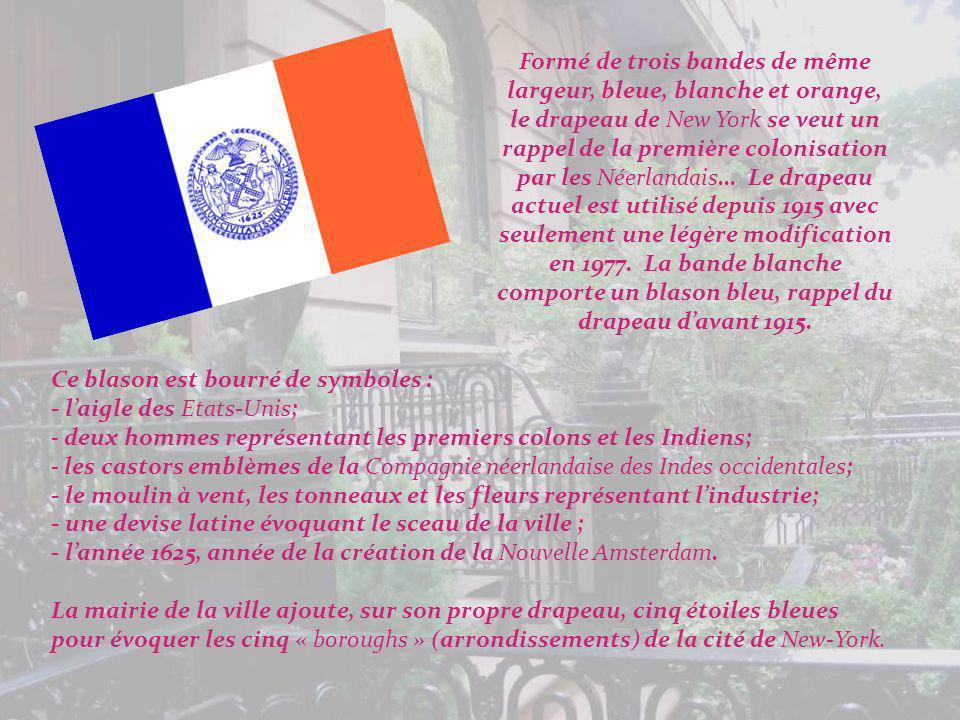 Formé de trois bandes de même largeur, bleue, blanche et orange, le drapeau de New York se veut un rappel de la première colonisation par les Néerlandais… Le drapeau actuel est utilisé depuis 1915 avec seulement une légère modification en 1977. La bande blanche comporte un blason bleu, rappel du drapeau d'avant 1915.