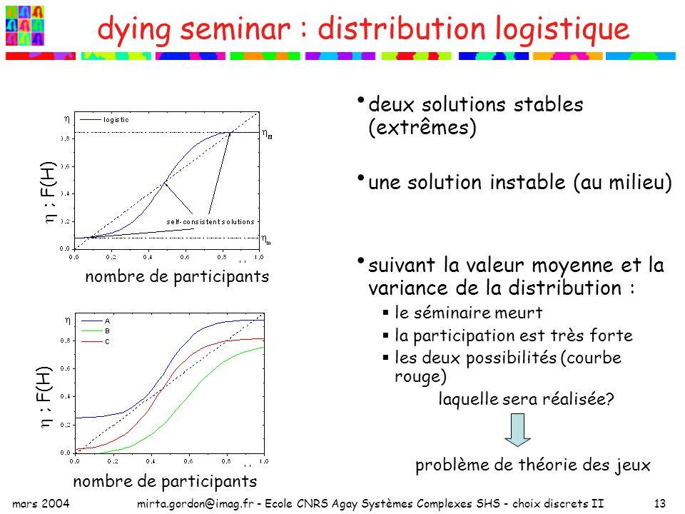dying seminar : distribution logistique
