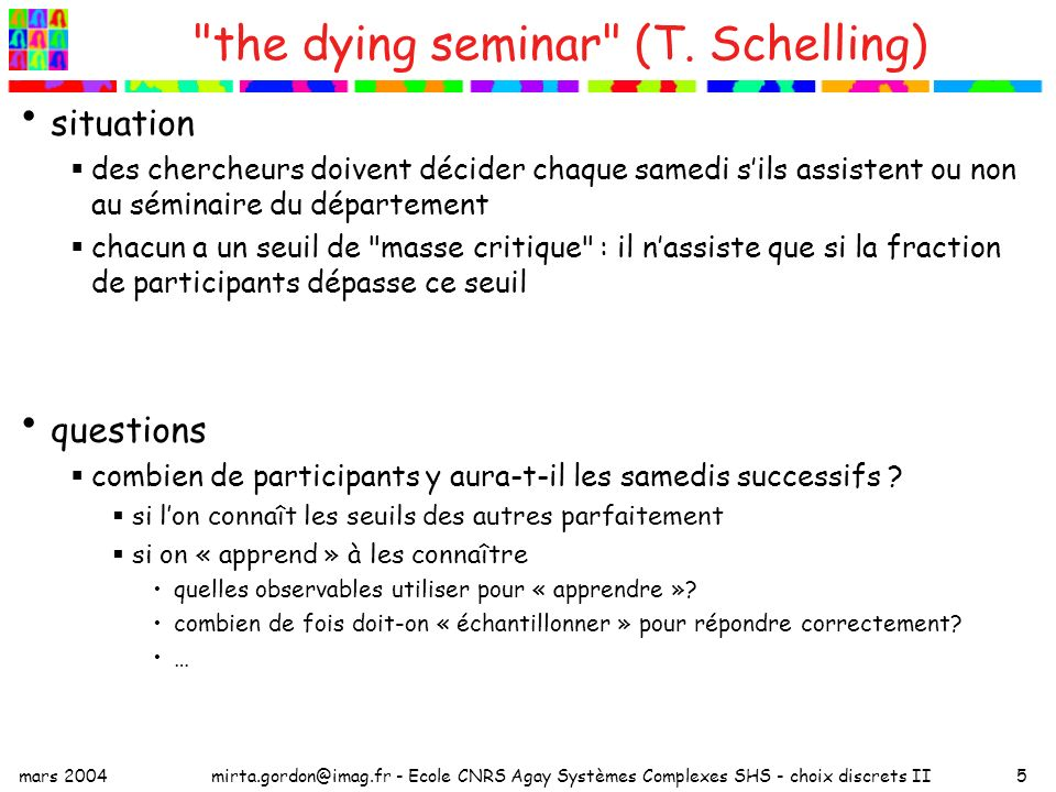 the dying seminar (T. Schelling)