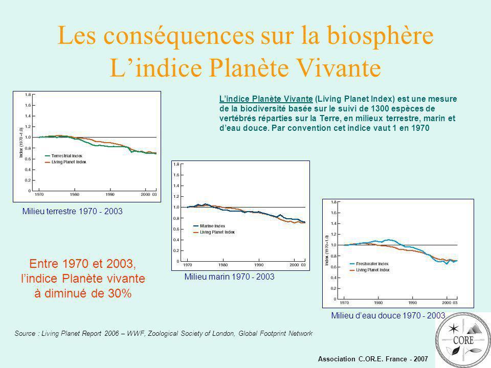 Les conséquences sur la biosphère L'indice Planète Vivante