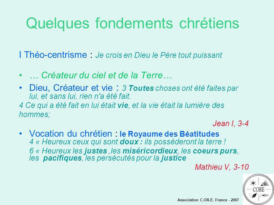 Quelques fondements chrétiens