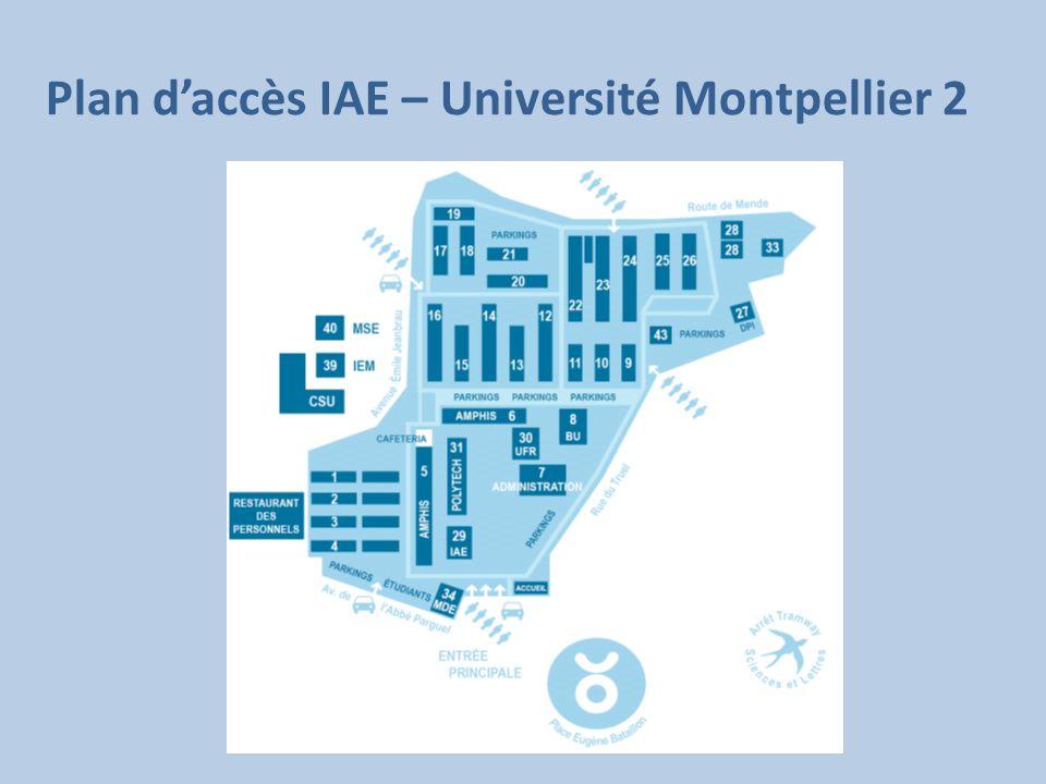 Plan d'accès IAE – Université Montpellier 2