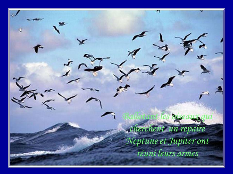 Ballotant les oiseaux qui cherchent un repaire Neptune et Jupiter ont réuni leurs armes