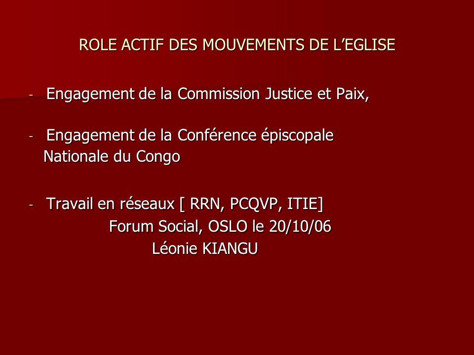 ROLE ACTIF DES MOUVEMENTS DE L'EGLISE