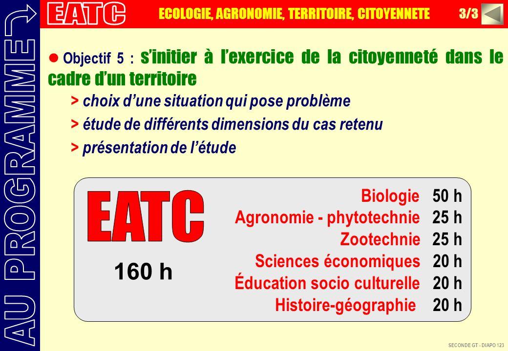 EATC AU PROGRAMME EATC 160 h Biologie 50 h