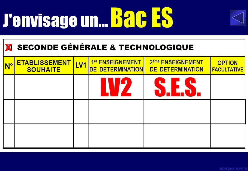 LV2 S.E.S. x Bac ES J envisage un... SECONDE GÉNÉRALE & TECHNOLOGIQUE