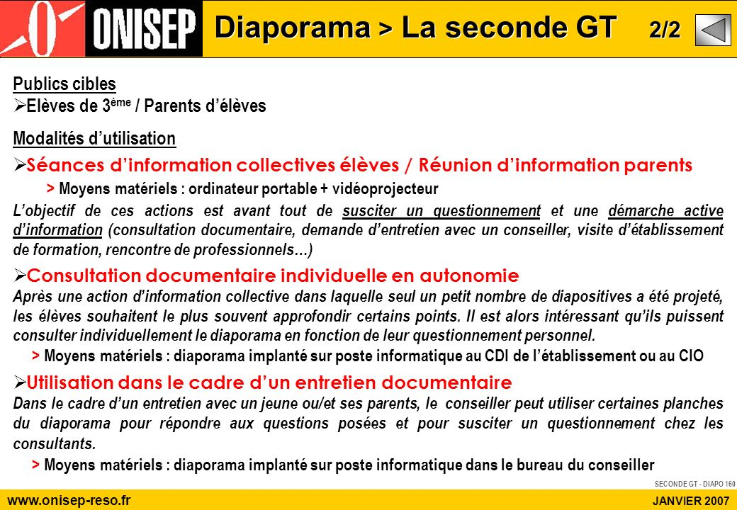 www.onisep-reso.fr JANVIER 2007