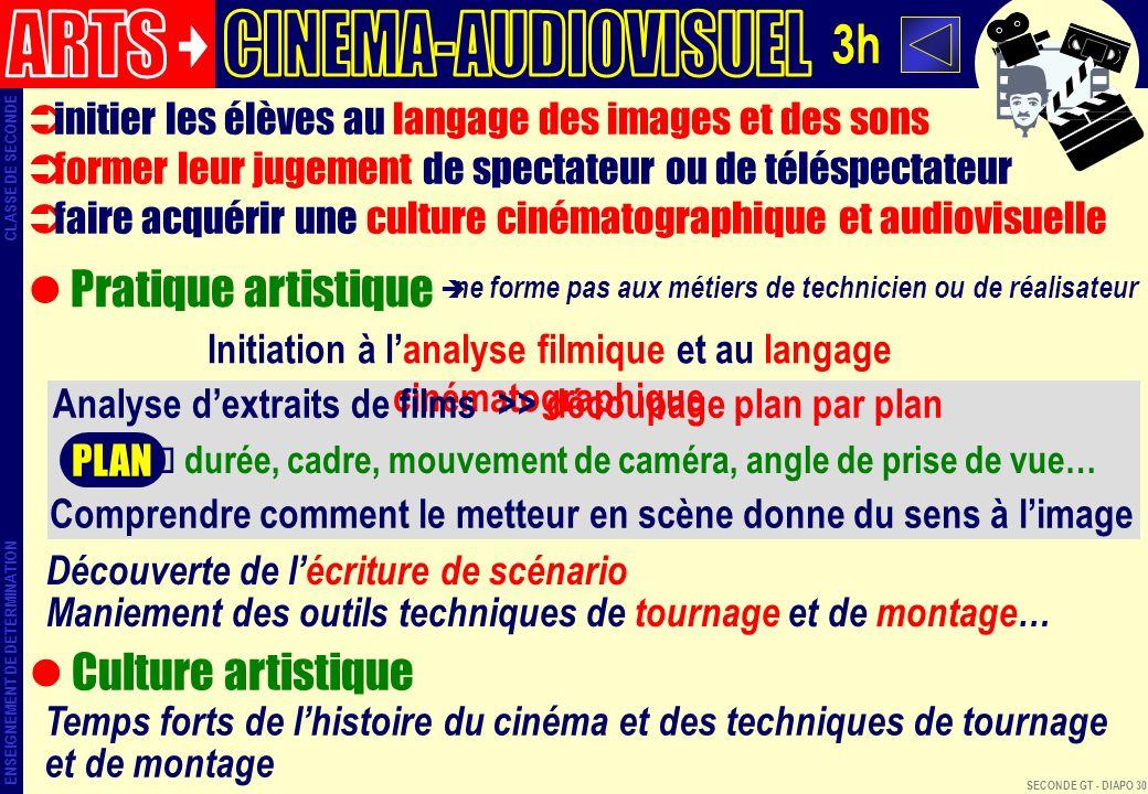 ARTS CINEMA-AUDIOVISUEL 3h Pratique artistique Culture artistique