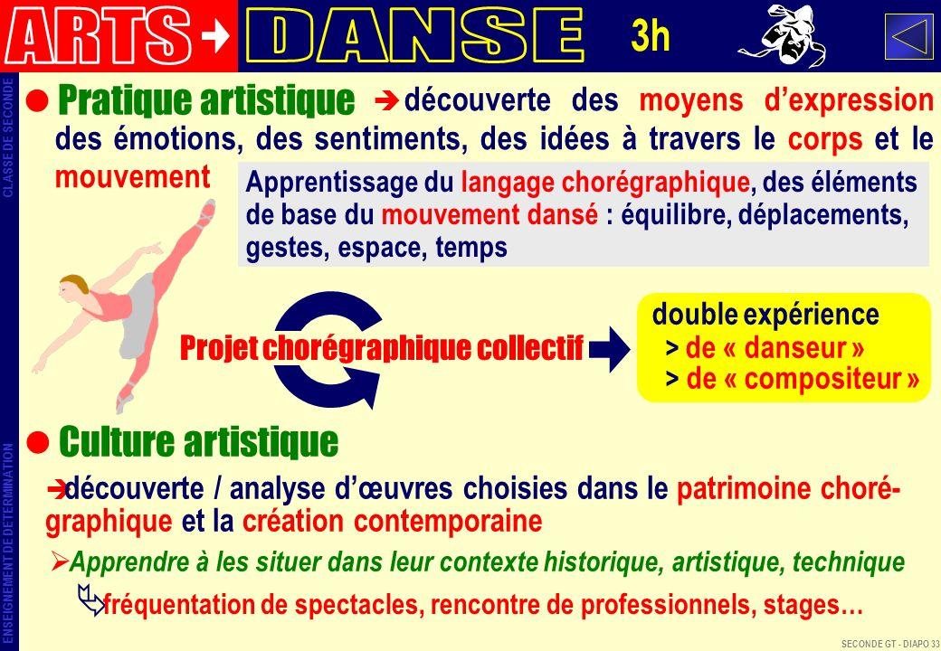 ARTS DANSE 3h Pratique artistique Culture artistique
