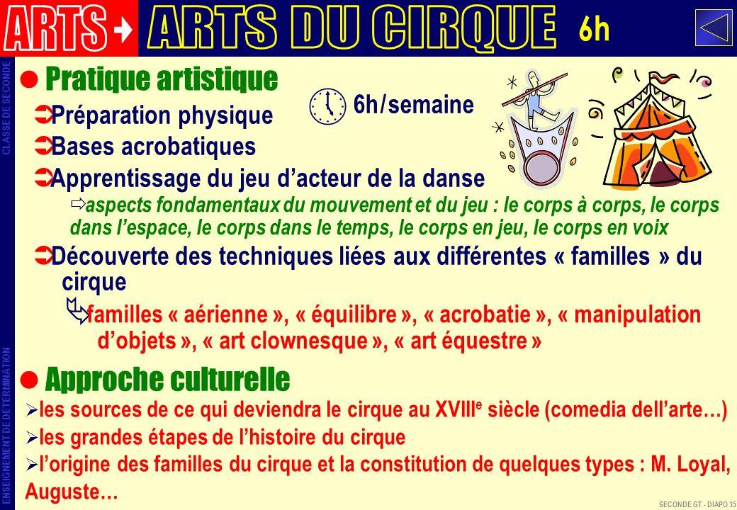 ARTS ARTS DU CIRQUE 6h Pratique artistique Approche culturelle