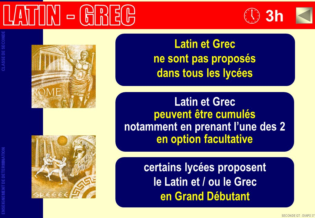 3h LATIN - GREC Latin et Grec ne sont pas proposés