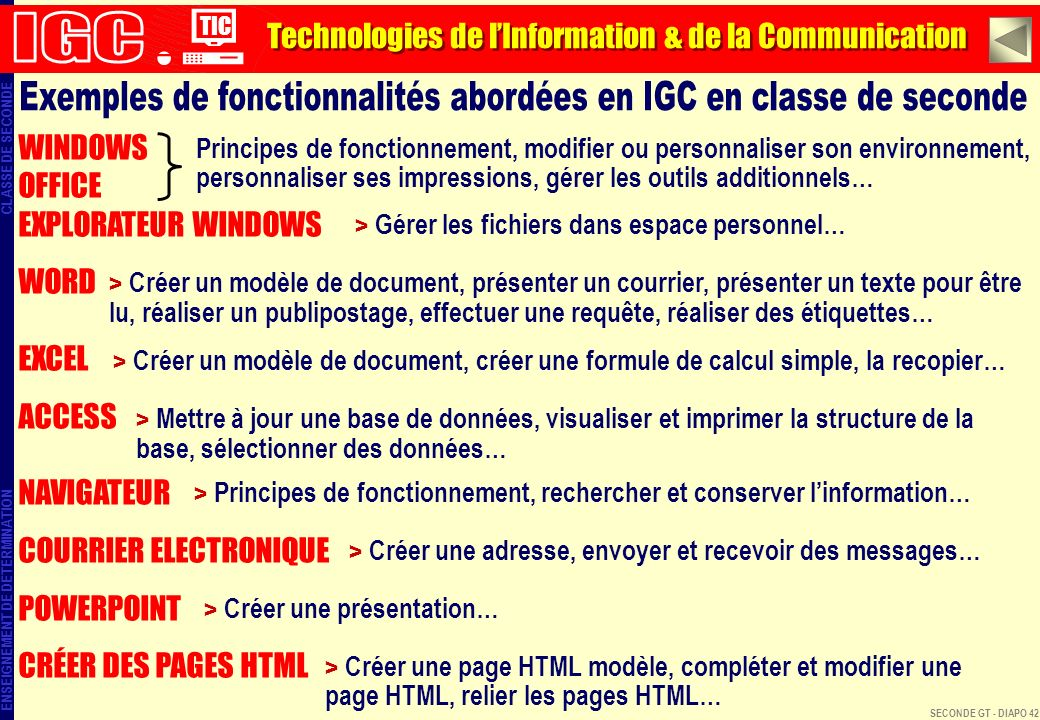 Exemples de fonctionnalités abordées en IGC en classe de seconde