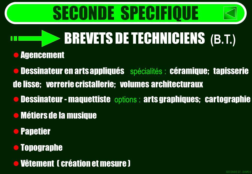 SECONDE SPECIFIQUE BREVETS DE TECHNICIENS (B.T.) Agencement