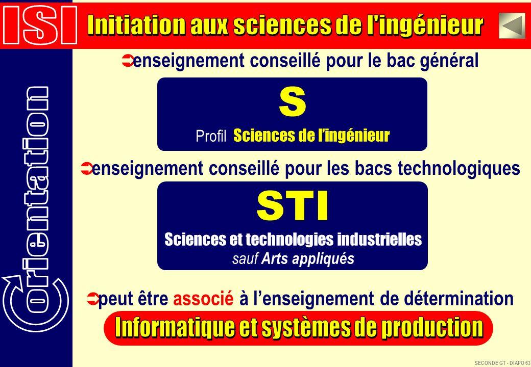 S STI ISI Initiation aux sciences de l ingénieur orientation