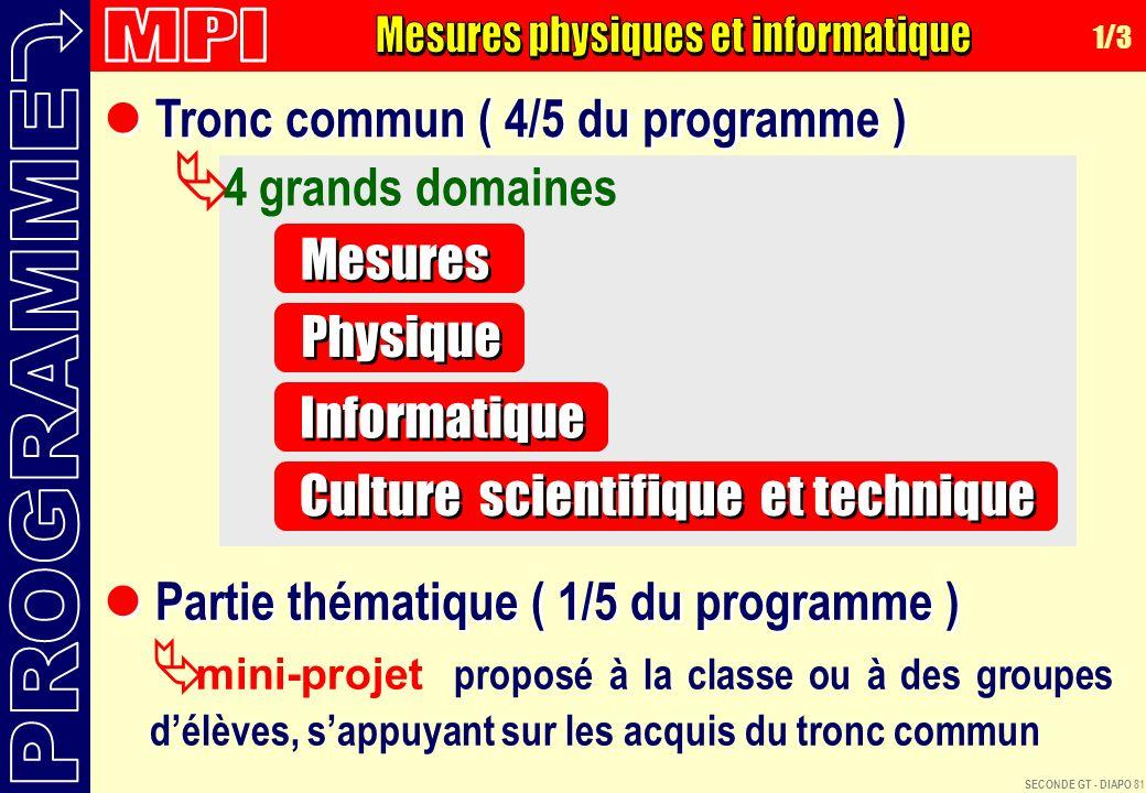 MPI Mesures physiques et informatique. 1/3. Tronc commun ( 4/5 du programme ) 4 grands domaines.
