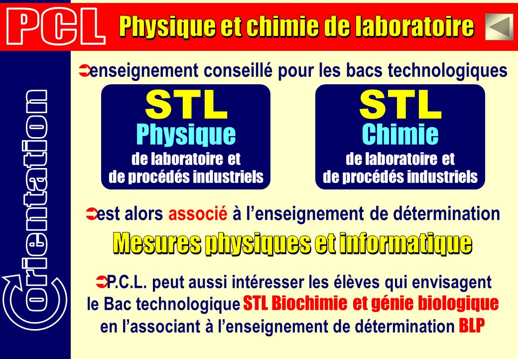 STL STL STL Physique Chimie Chimie PCL