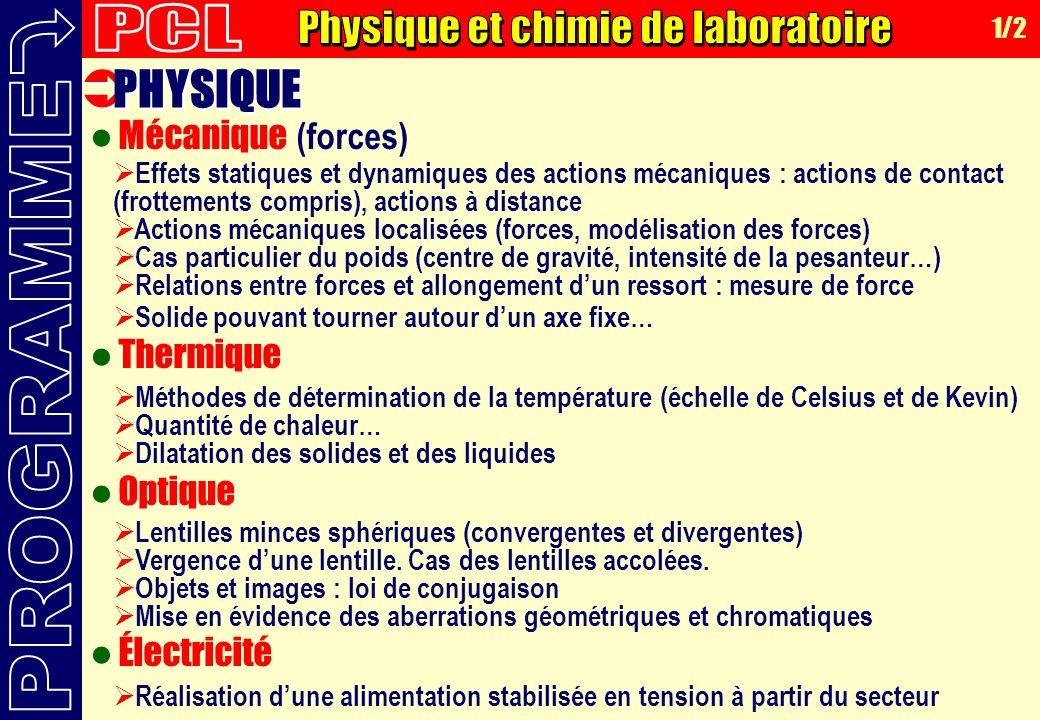 Physique et chimie de laboratoire