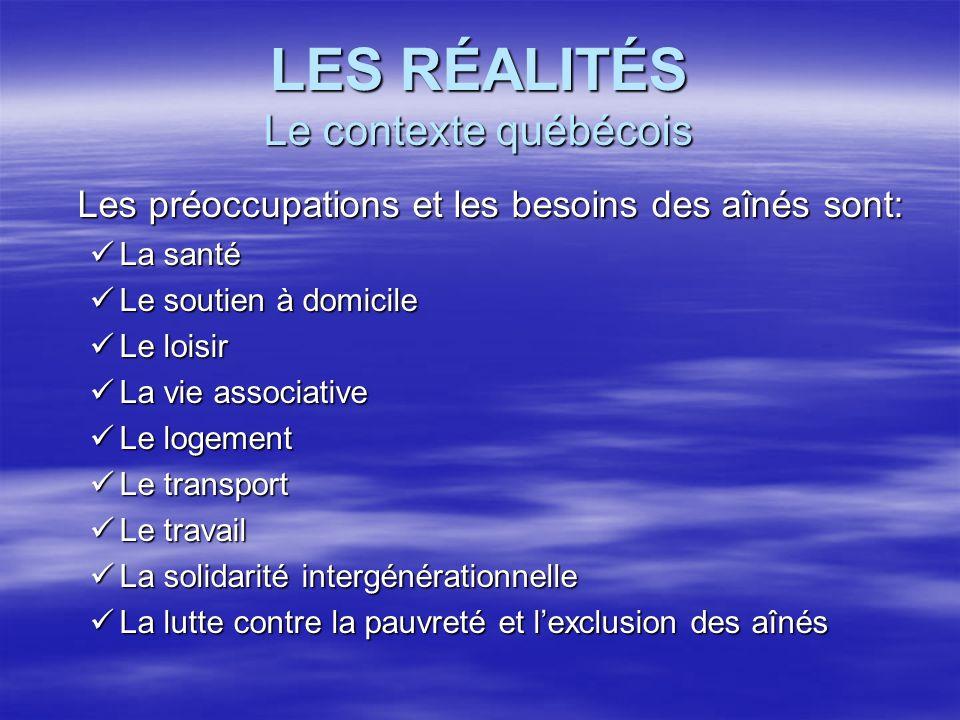 LES RÉALITÉS Le contexte québécois