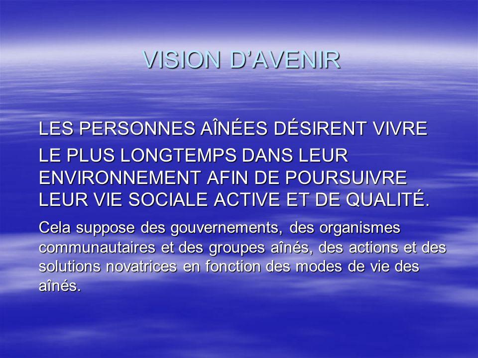 VISION D'AVENIR LES PERSONNES AÎNÉES DÉSIRENT VIVRE