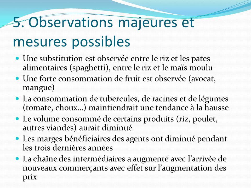 5. Observations majeures et mesures possibles