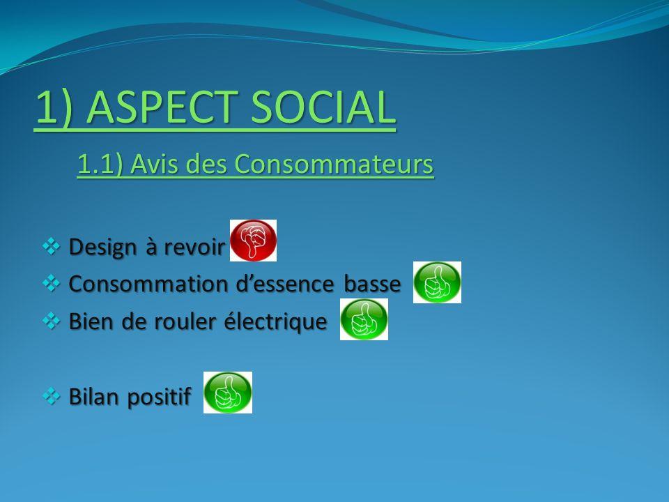 1) ASPECT SOCIAL Design à revoir Consommation d'essence basse