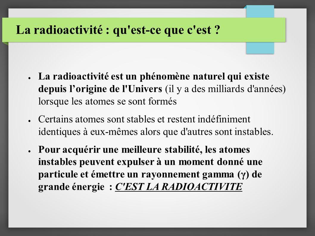 La radioactivité : qu est-ce que c est