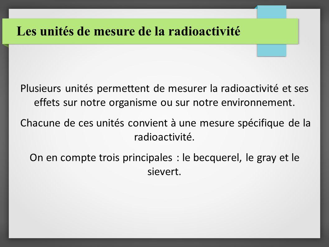Les unités de mesure de la radioactivité