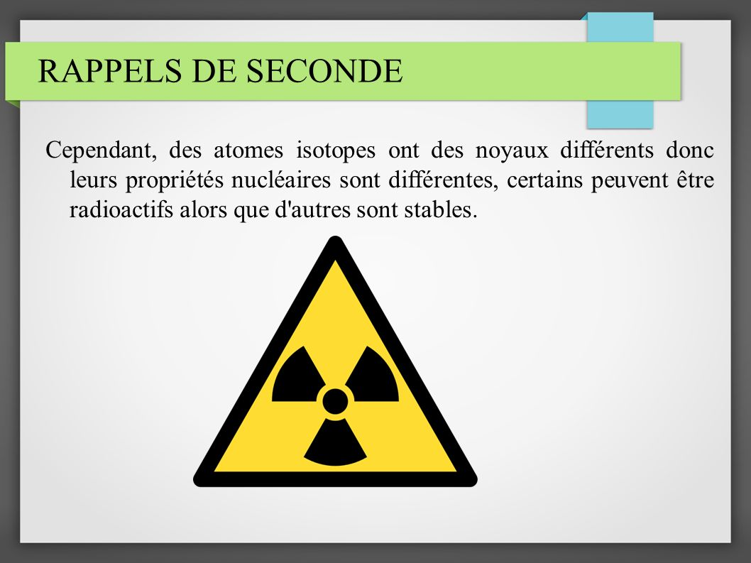 RAPPELS DE SECONDE