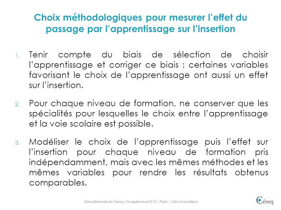 Choix méthodologiques pour mesurer l'effet du passage par l'apprentissage sur l'insertion