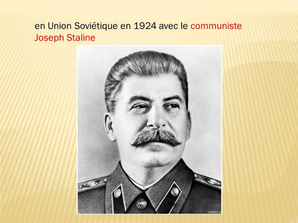 en Union Soviétique en 1924 avec le communiste Joseph Staline