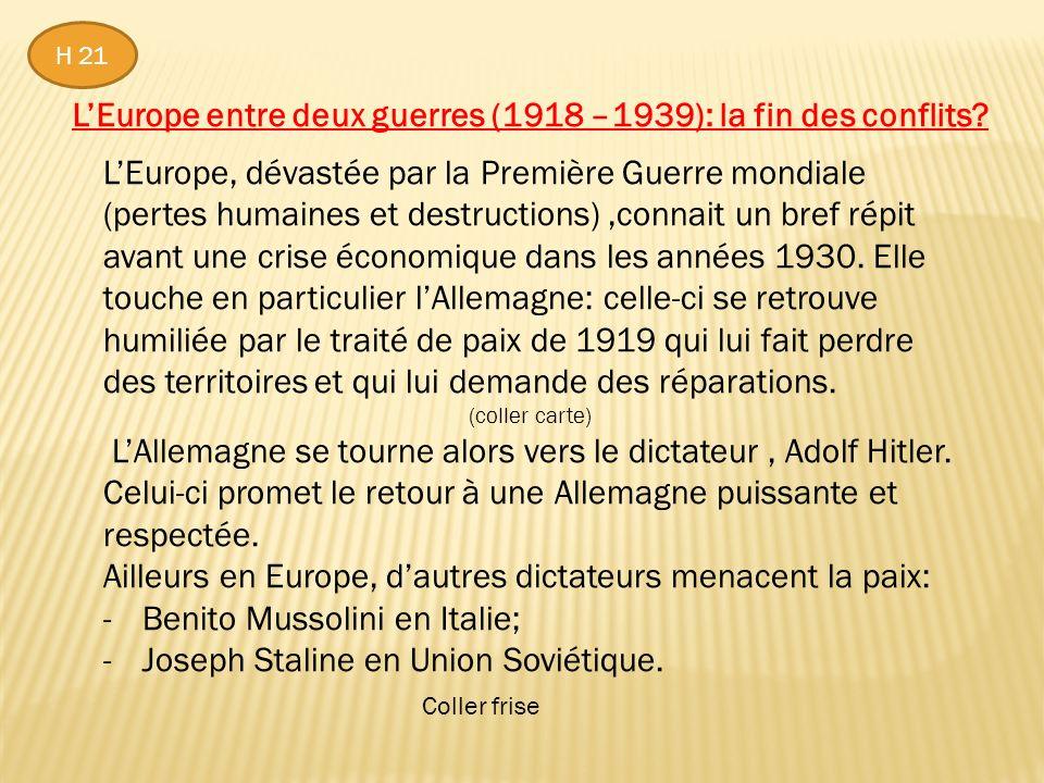 L'Europe entre deux guerres (1918 –1939): la fin des conflits