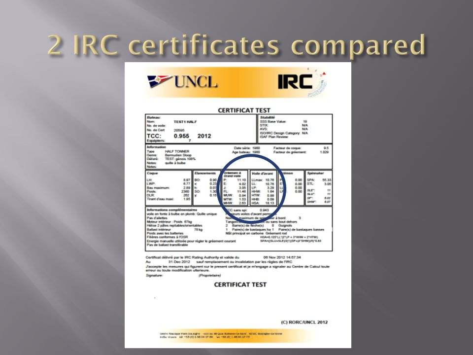 2 IRC certificates compared