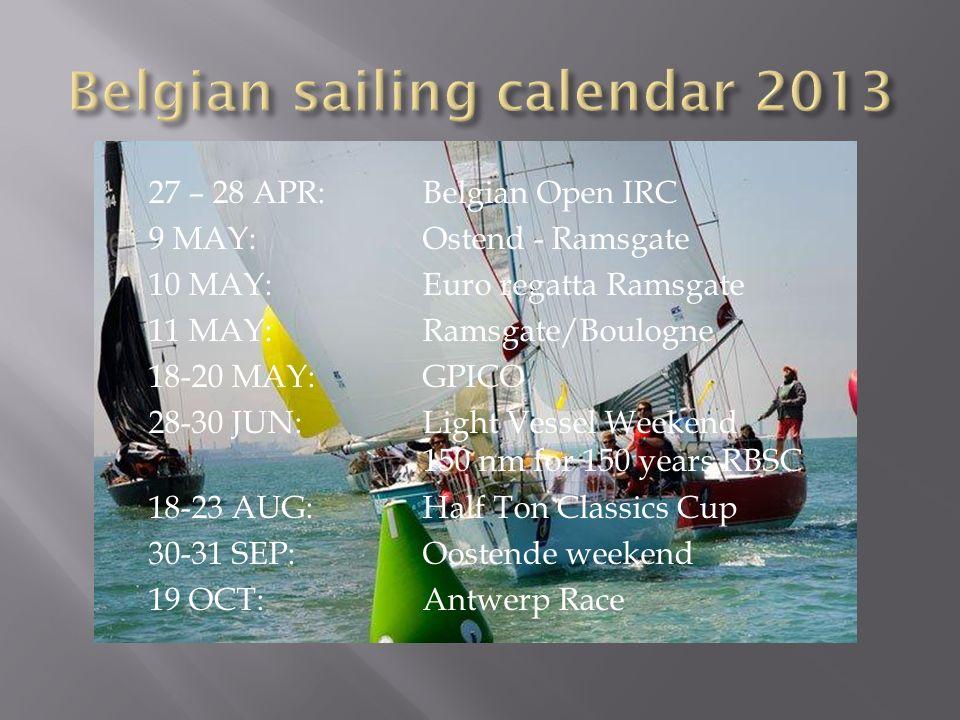 Belgian sailing calendar 2013