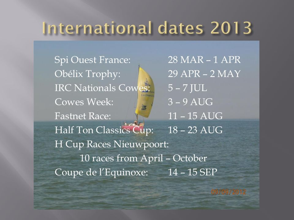 International dates 2013 Spi Ouest France: 28 MAR – 1 APR