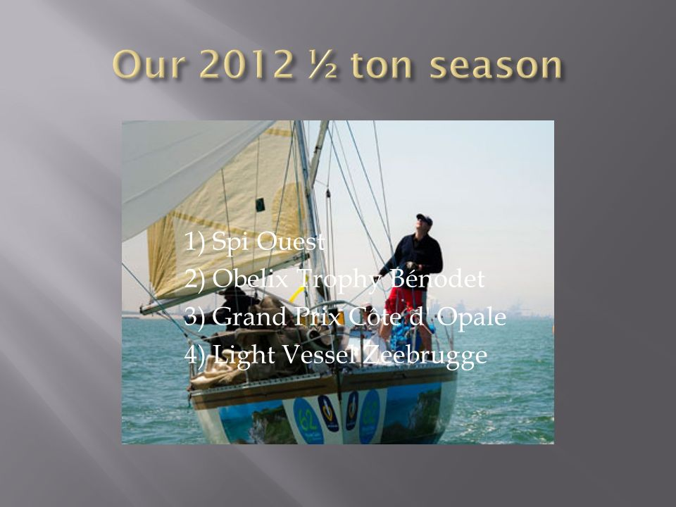 Our 2012 ½ ton season 1) Spi Ouest 2) Obelix Trophy Bénodet